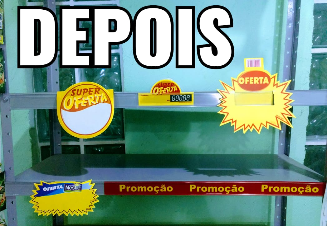 PERFIL PORTA ETIQUETA DE GÔNDOLA  C/DUPLA FACE (C/6 UNIDADES)
