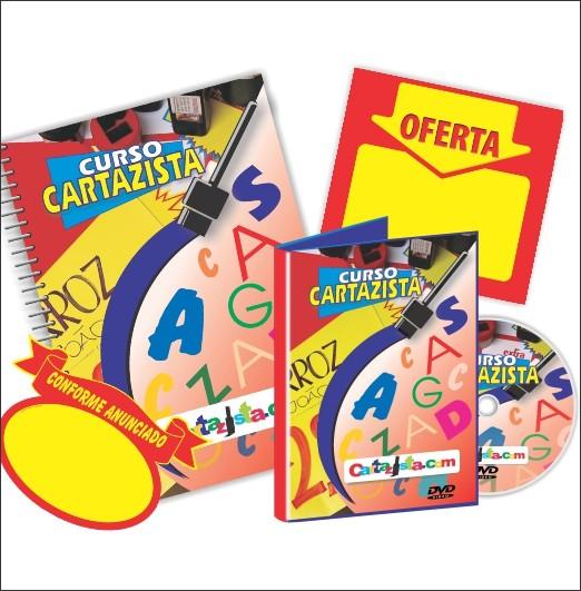 VÍDEO AULA DVD + APOSTILA + 50 SPLASH + 50 CARTAZ + KIT C/ 3 PINCEIS CARTAZISTA.COM + TINTA VERMELHA CARTAZISTA.COM