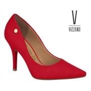 Sapato Feminino Vizzano Camurça Vermelho 11841101