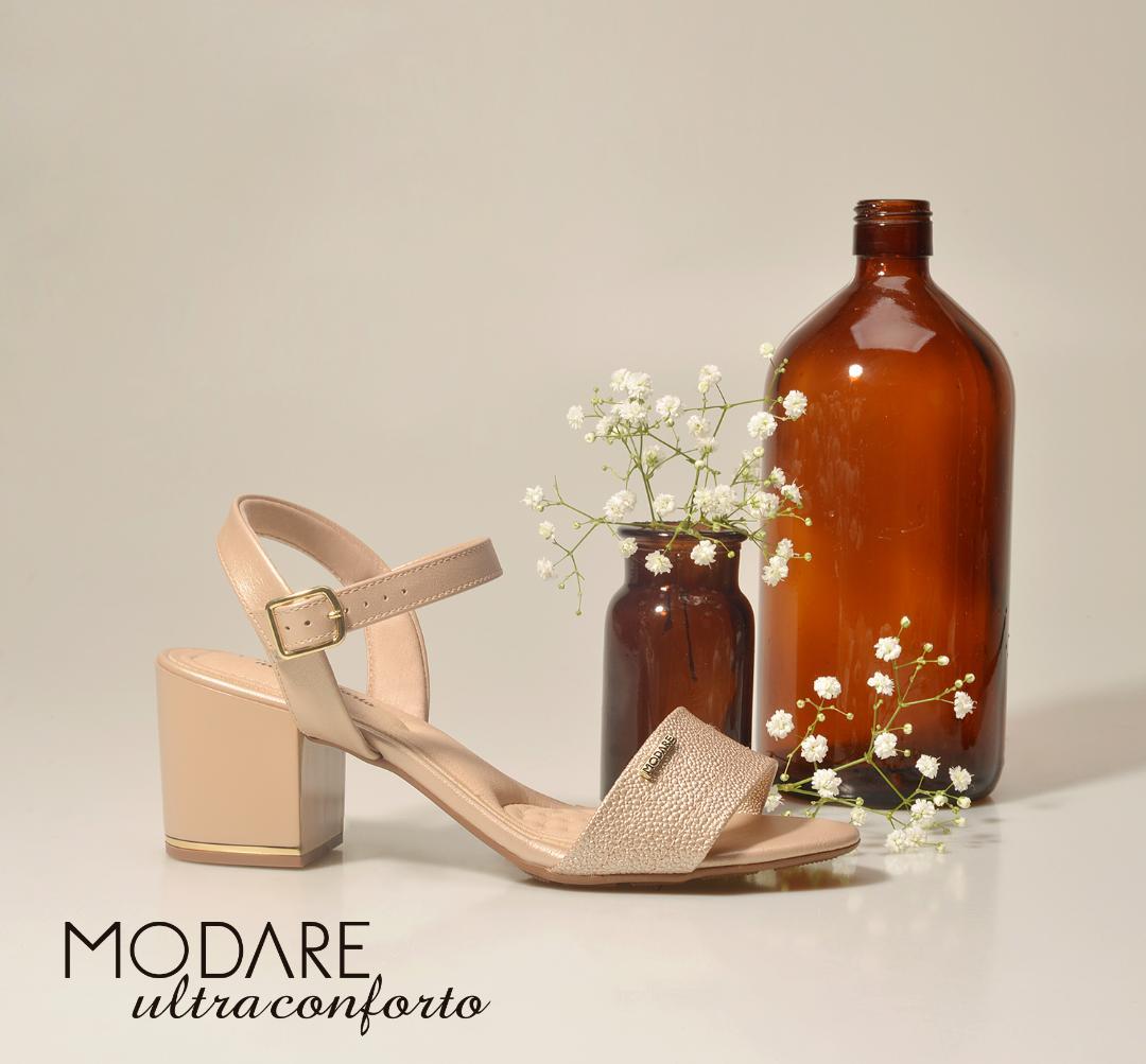 Sandália Modare Ultra Conforto Salto Médio Verniz  Bege 7109200