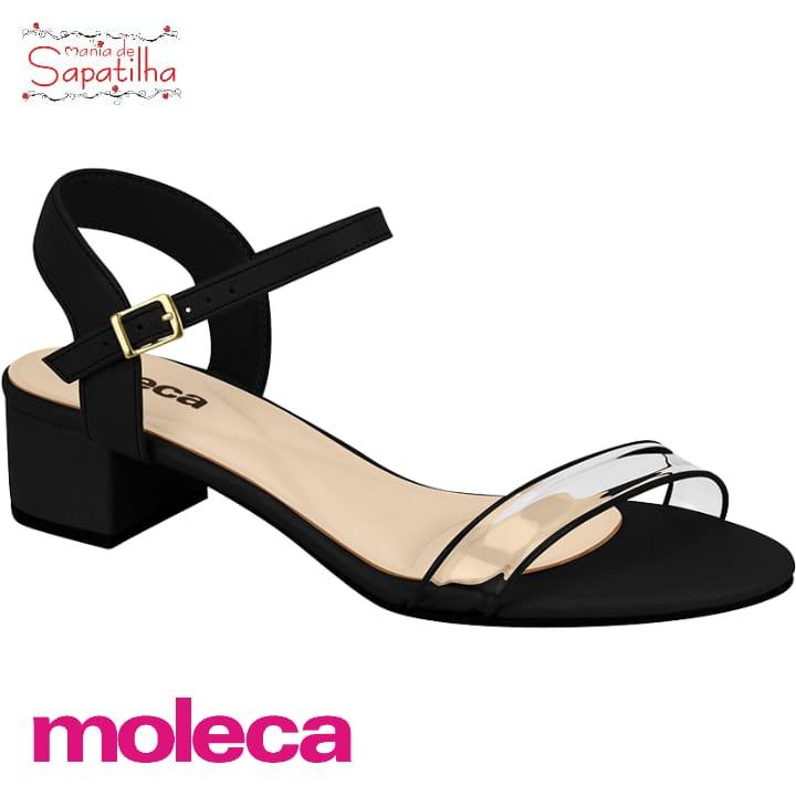 Sandália Moleca  Salto Napa Preto 5259731