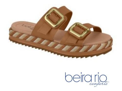 Sandália Plataforma 2 Fivelas Camel 83541022