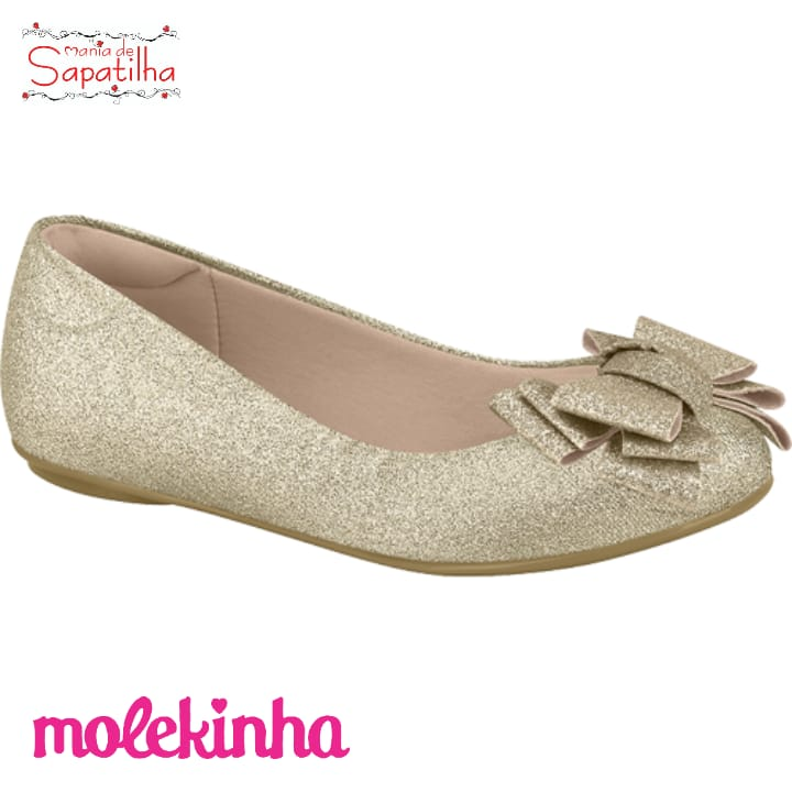 SAPATILHA INFANTIL FEMININA MOLEKINHA GLITTER DOURADO - 2083998