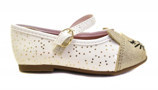 Sapatilha Molekinha Branco Dourado Original 21061009