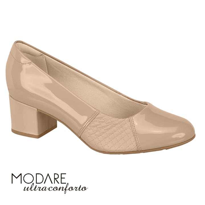 *Sapato Feminino Bege Verniz Modare Joanete 7316108