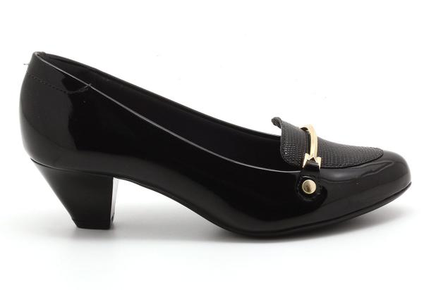 *Sapato Feminino Modare Salto Baixo Verniz Preto 7005659