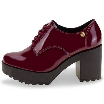 *Sapato Moleca Vinho Brilho Original 5647211