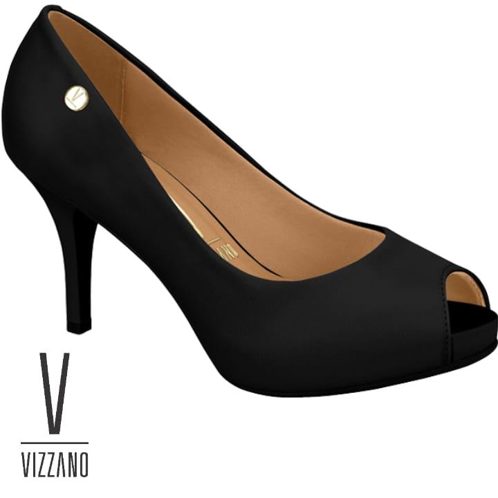 Sapato Peep Toe Feminino Vizzano  Preto Pelica 1781807