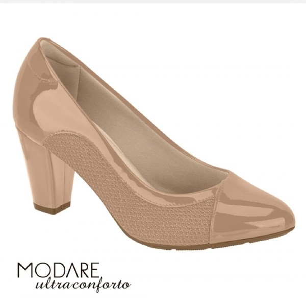 Sapato Scarpin Modare Ultraconforto Nude Verniz 7305442