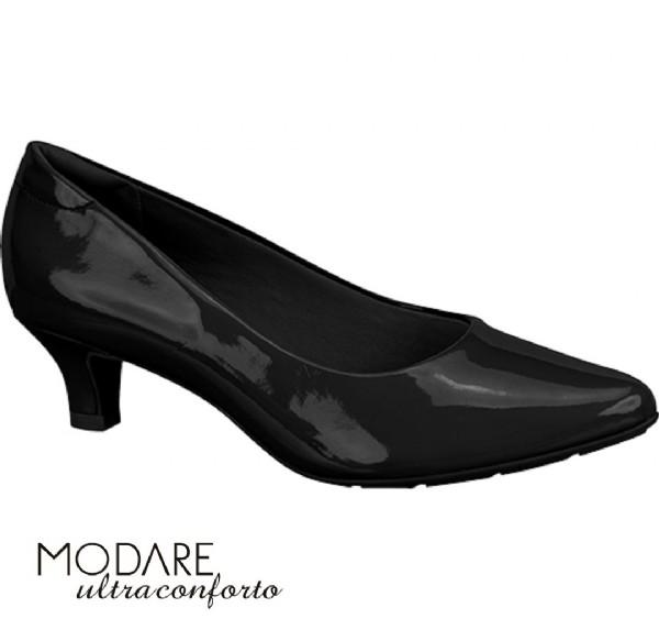 Sapato Scarpin Salto Baixo Modare Preto Verniz 7314100