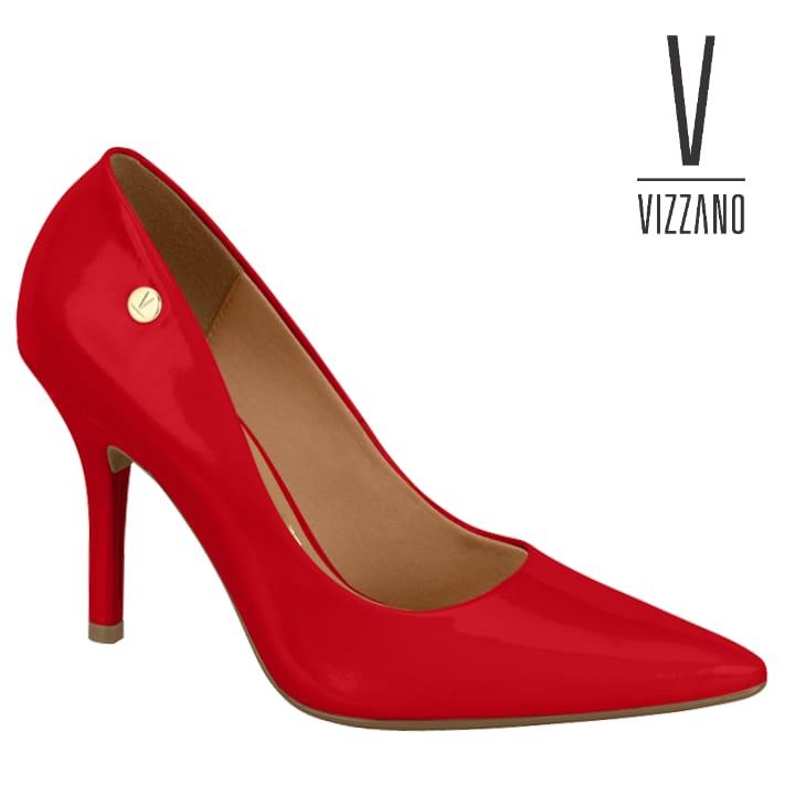 Sapato Scarpin Vermelho Verniz Vizzano Bico fino 11841101 Salto Alto
