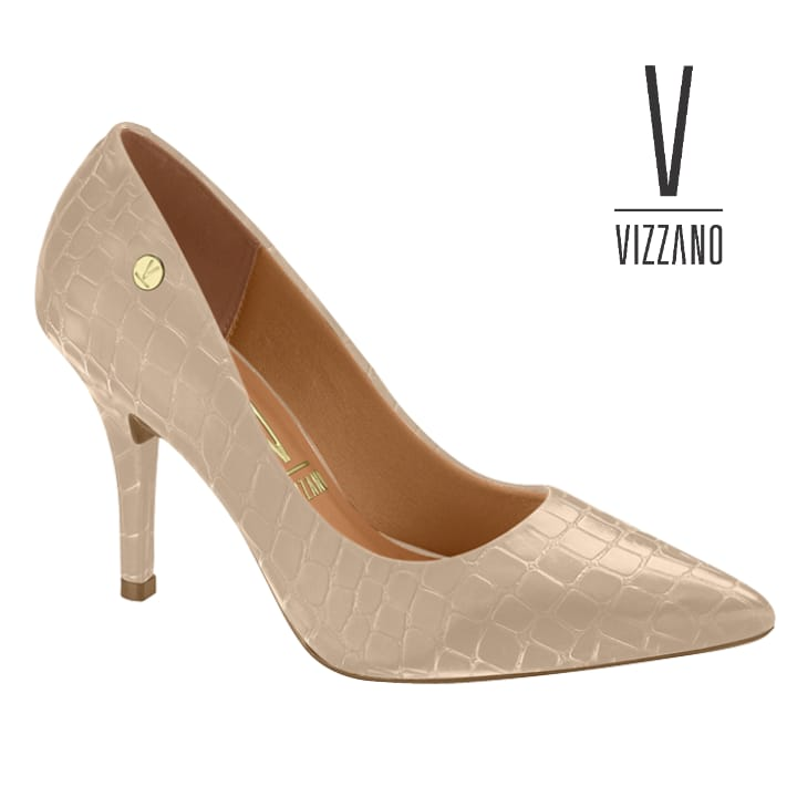 Sapato Scarpin  Vizzano Bege Croco Cetim  Verniz 11841101