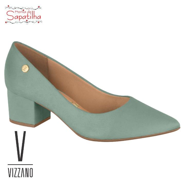 Scarpin Feminino Salto Baixo Verde Camurça Vizzano 1220315