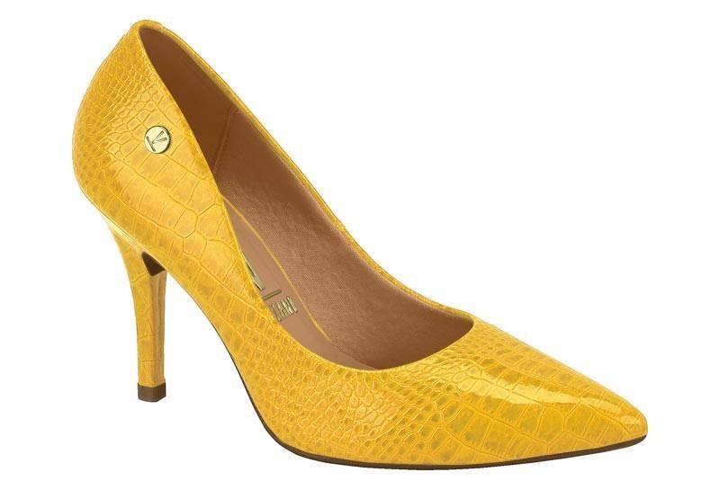 Scarpín Feminino Verniz Croco Glam Amarelo 11841101