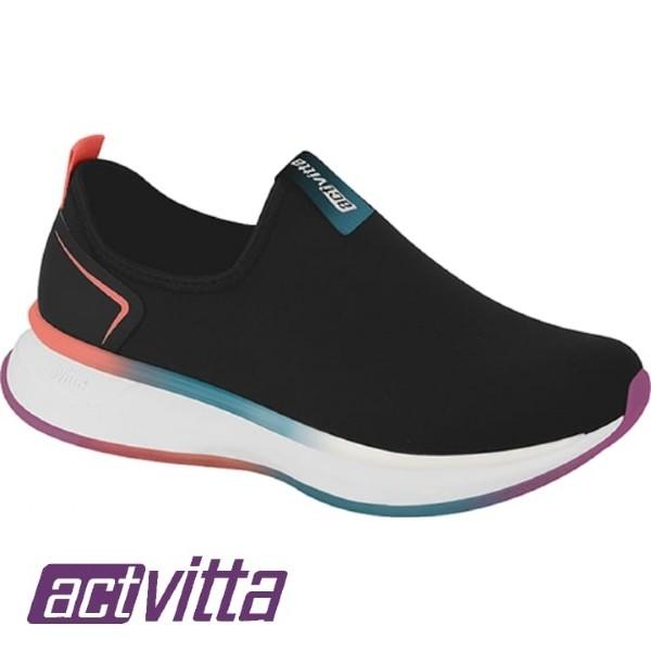 Tênis Calce Fácil Actvitta Feminino Preto 4808201