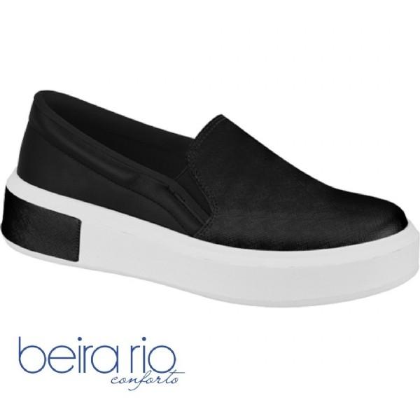 Tênis Feminino Preto Napa Slip On Beira Rio 4252200