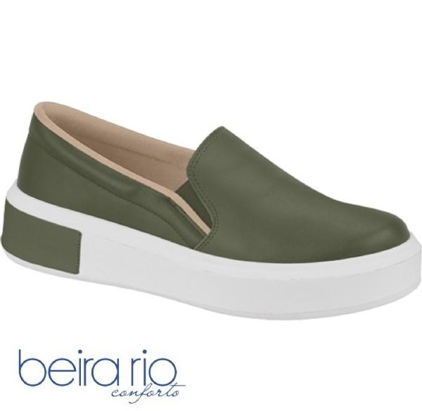 Tênis Feminino Verde Militar Slip On Napa Beira Rio 4252200