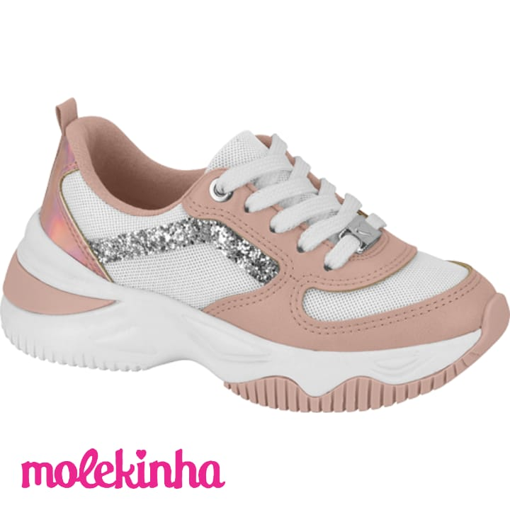 Tênis Infantil Kids Sneaker Molekinha Rosa Napa 2540102