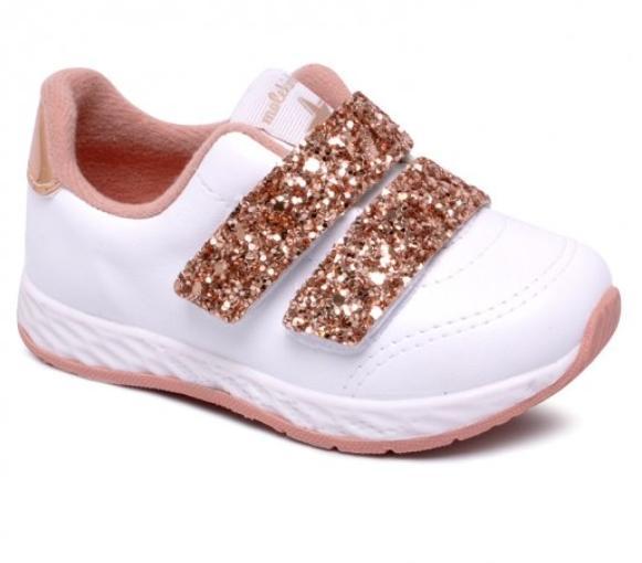 Tênis Molekinha  Glitter Branco/Ouro/Rosado 2701100