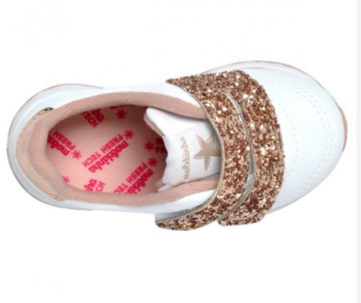*Tênis Molekinha  Glitter Branco/Ouro/Rosado 2701100