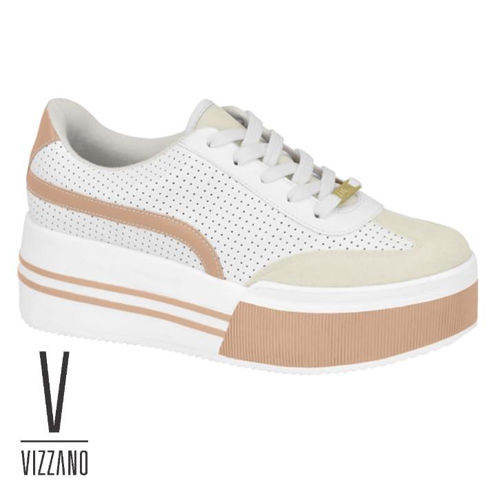 *Tênis Vizzano Flatform Listra Branco Napa 1336201