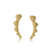 Brinco Ear Cuff de Corações Folheado em Ouro 18k