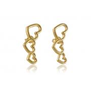 Brinco Ear Cuff  Dourado de Corações Pequeno Folheado em Ouro 18k