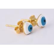 Brinco Pequeno de Olho Grego Folheado em Ouro 18k