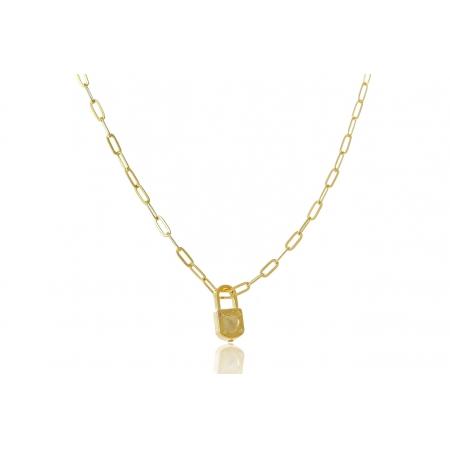 Colar  Corrente Cartier Pingente Cadeado Folheado Ouro 18k