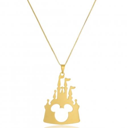 Colar Personalizado Castelo Disney Com Mikey no Meio Folheado em Ouro 18k