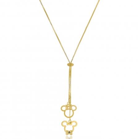 Colar Personalizado Gravata Mickey e Miney  Folheado em Ouro 18k