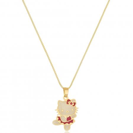 Colar Personalizado Hello Kitty Folheado em Ouro 18k