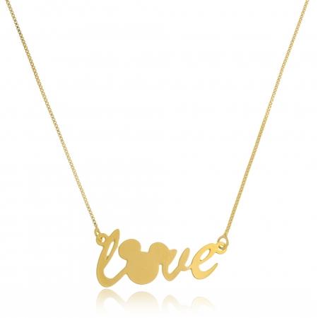 Colar Personalizado Love Mickey Folheado em Ouro Ouro 18k