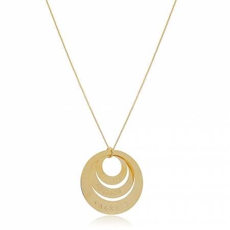 Colar Personalizado Mandala em Circunferências Folheado em Ouro 18K