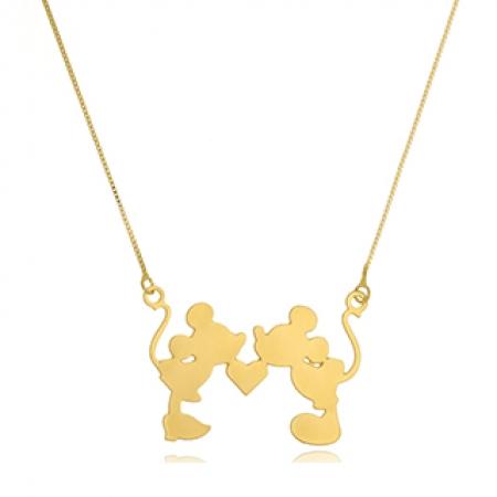 Colar Personalizado Mickey e Miney Folheado em Ouro 18K