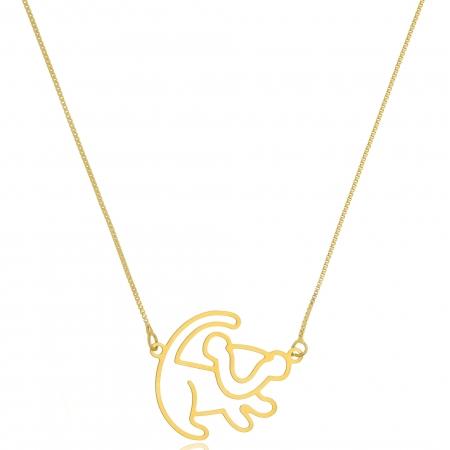 Colar Personalizado Simba Rei Leão Folheado em Ouro 18k