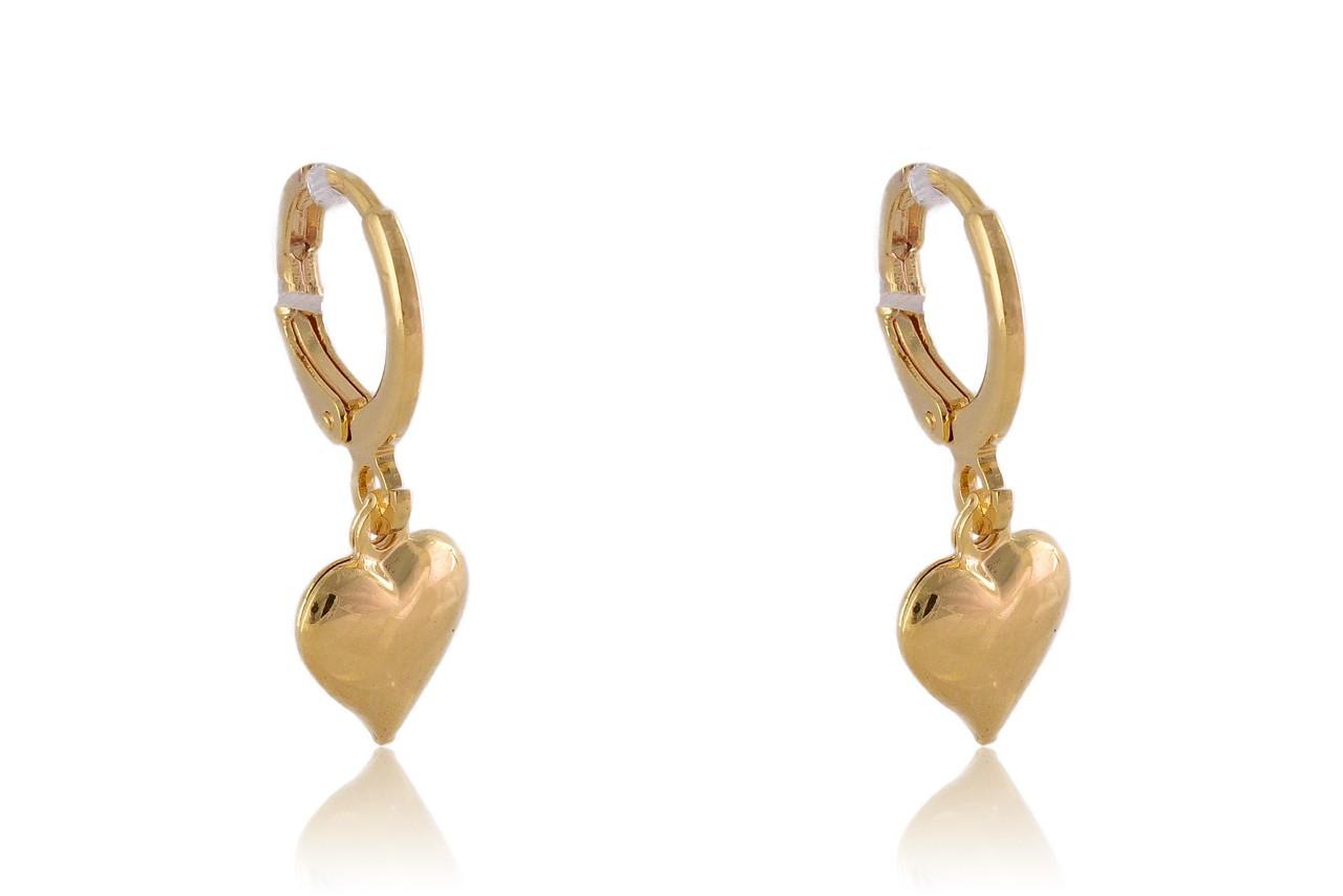 Brinco Argolinha de Coração Liso Pequeno Folheado em Ouro 18k