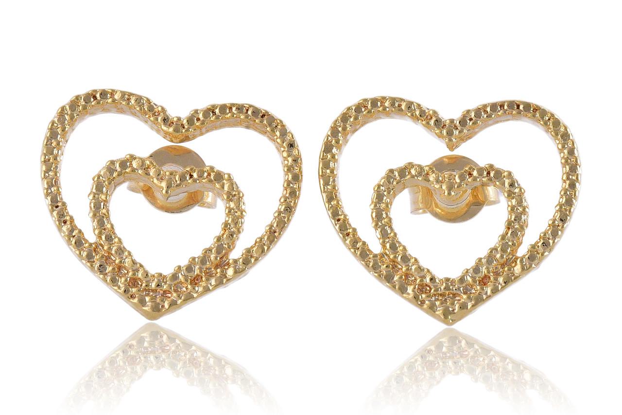 Brinco de Coração Dourado Pequeno Folheado em Ouro 18k