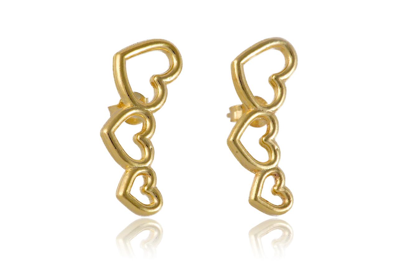 Brinco Ear Cuff  Dourado de Corações Pequeno Folheado