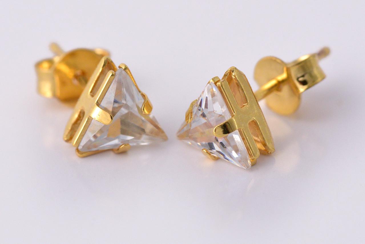 Brinco Triângulo de Zircônia Folheado em Ouro 18k