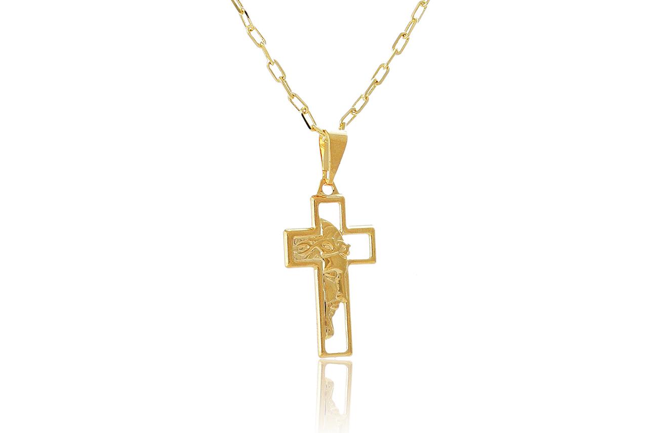 Colar com Pingente de Cruz e Face de Jesus Folheado em Ouro 18k