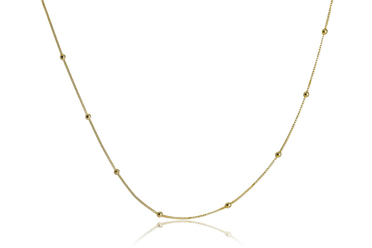 Colar Corrente Italiana com Bolinha Dourada Folheado em Ouro 18k
