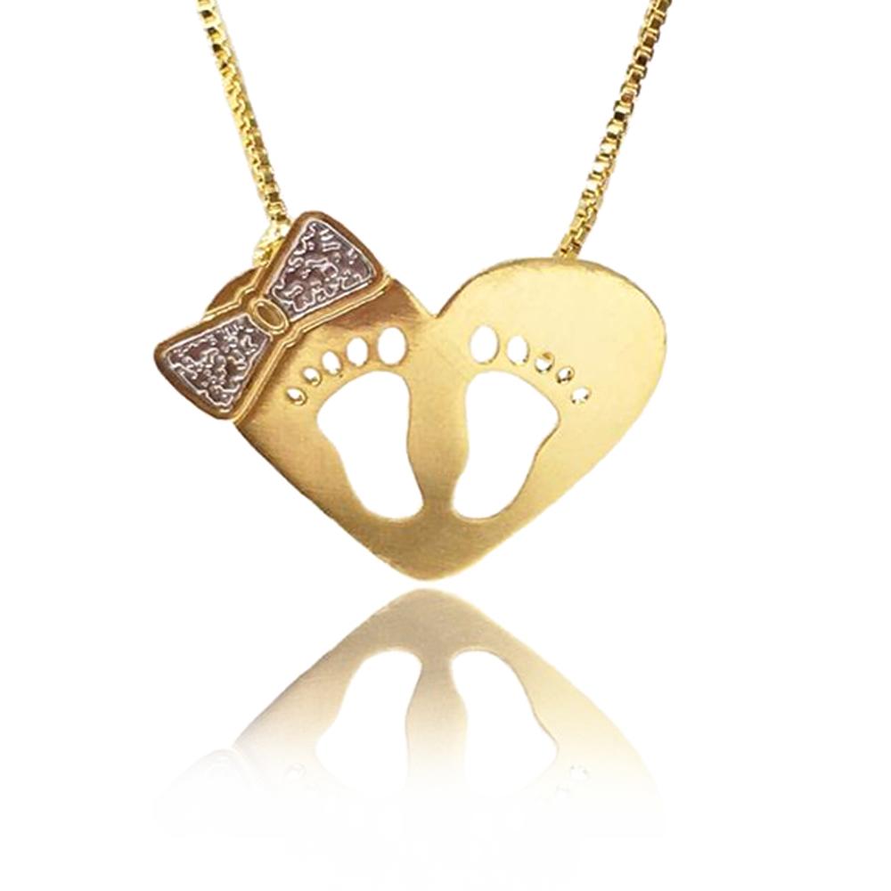 Colar de Coração com Pézinhos Vazados Folheado em Ouro18k