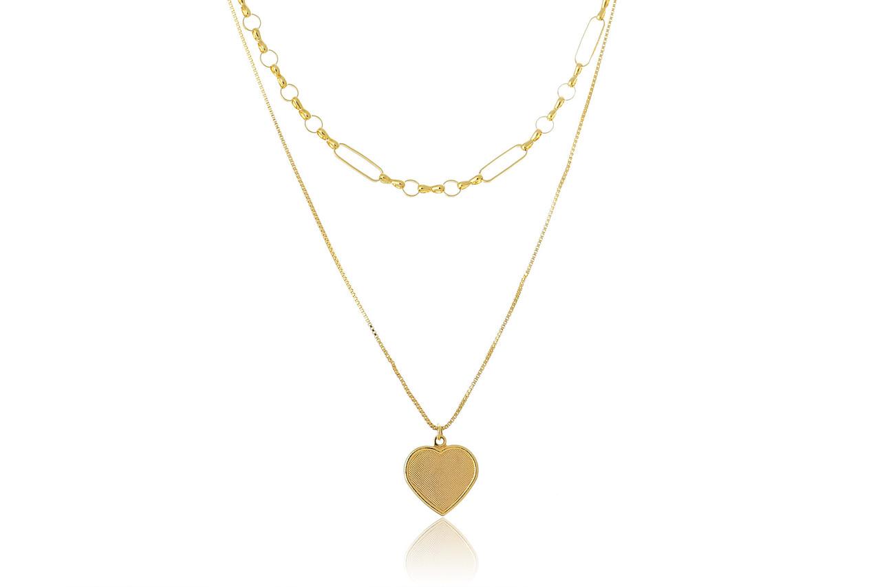 Colar Duplo Folheado em Ouro 18k com Coração