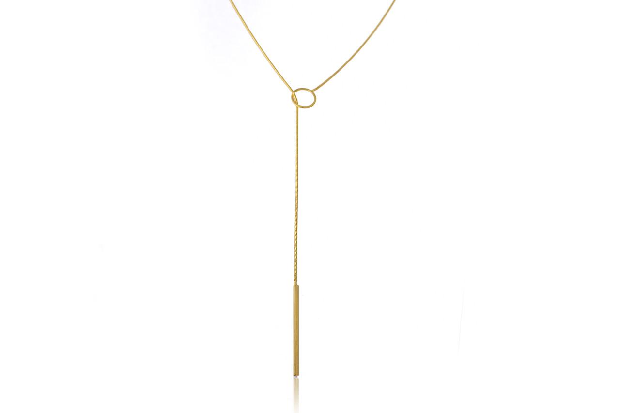 Colar Gravata com Ponta Palito Folheado em Ouro 18k