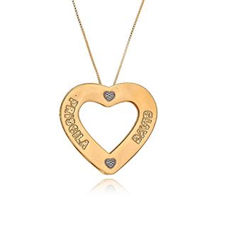 Colar Mandala Personalizado em Formato de Coração com Nomes e Mini Corações Trabalhados em Rodium