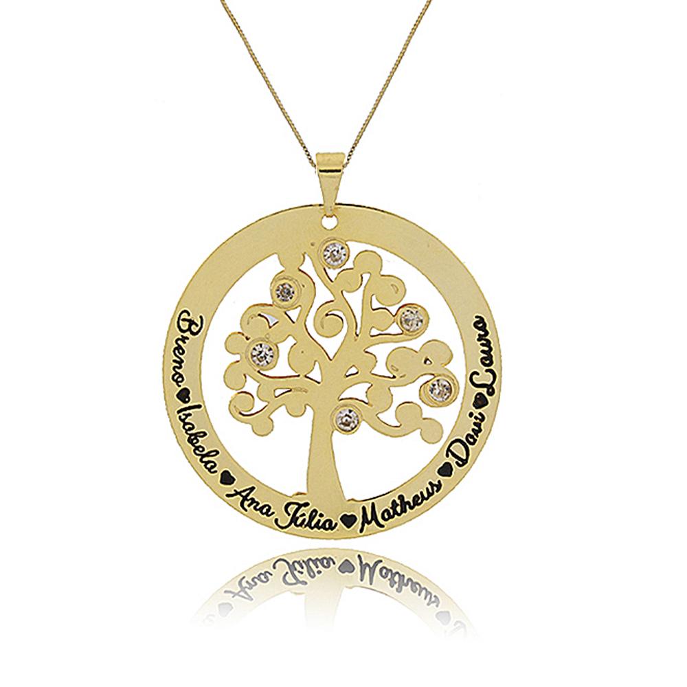 Colar Personalizado Árvore de Vida com Nomes Folheado em Ouro 18K
