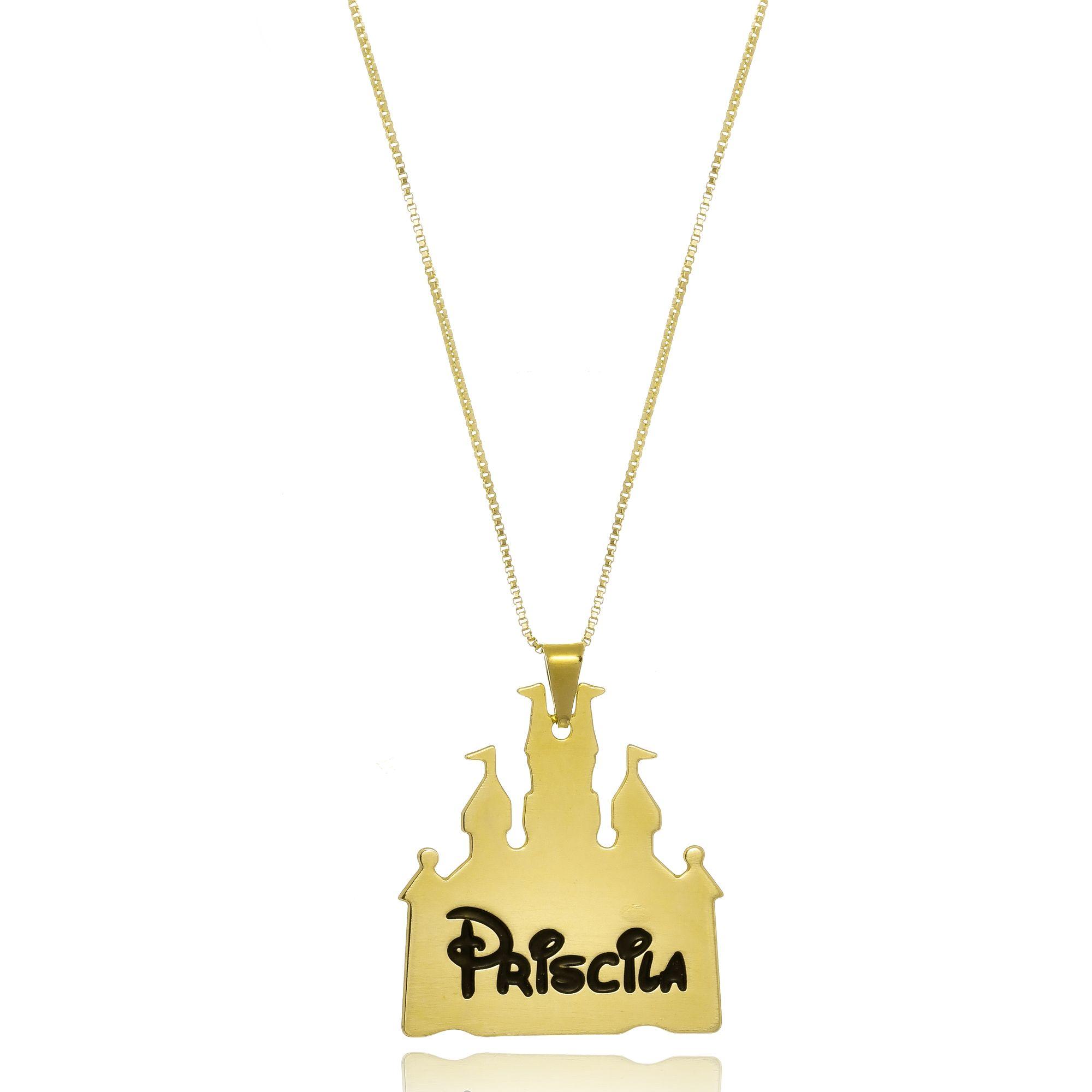 Colar Personalizado Castelo da Disney Nome Folheado em Ouro 18k