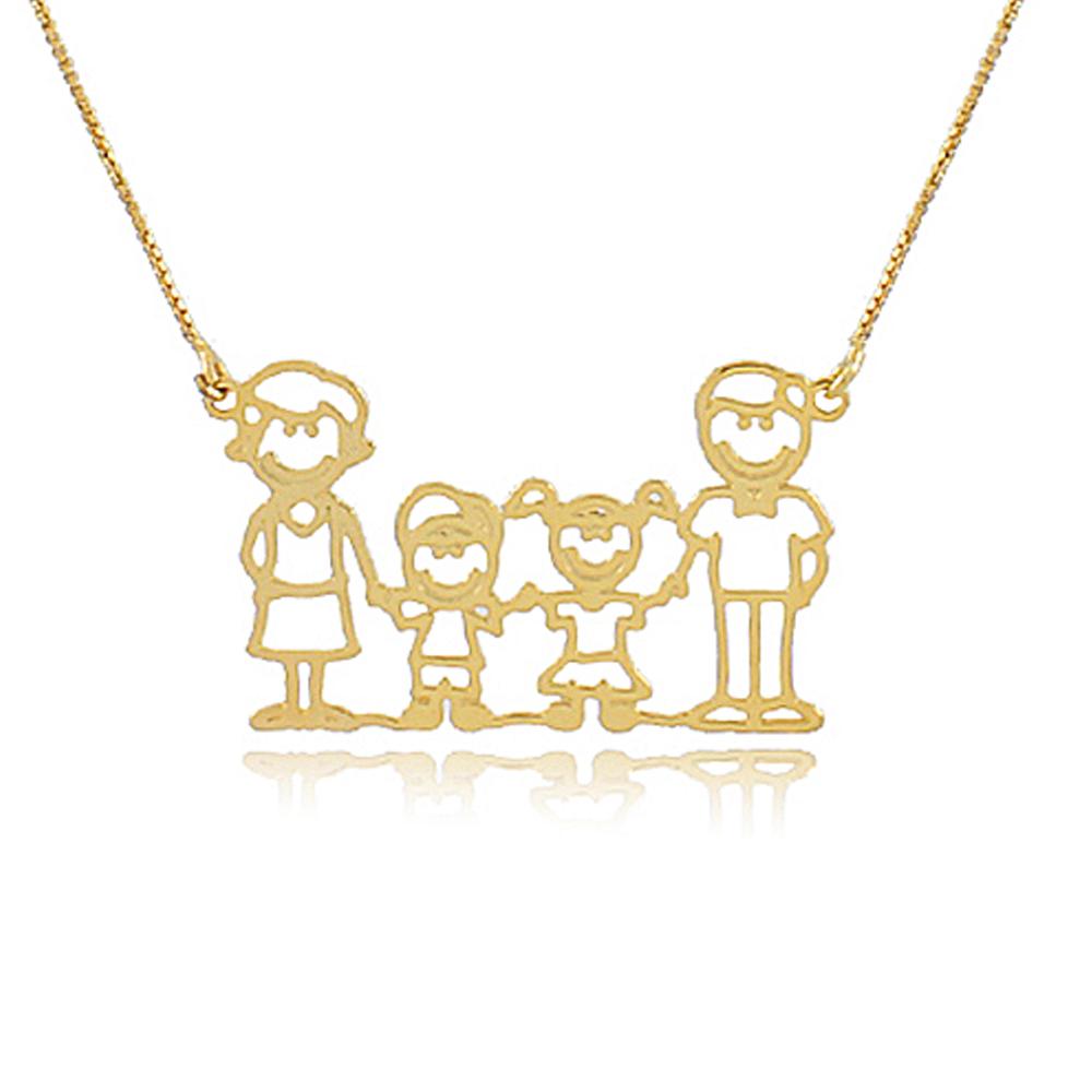 Colar Personalizado de Familia Folheado em Ouro 18K