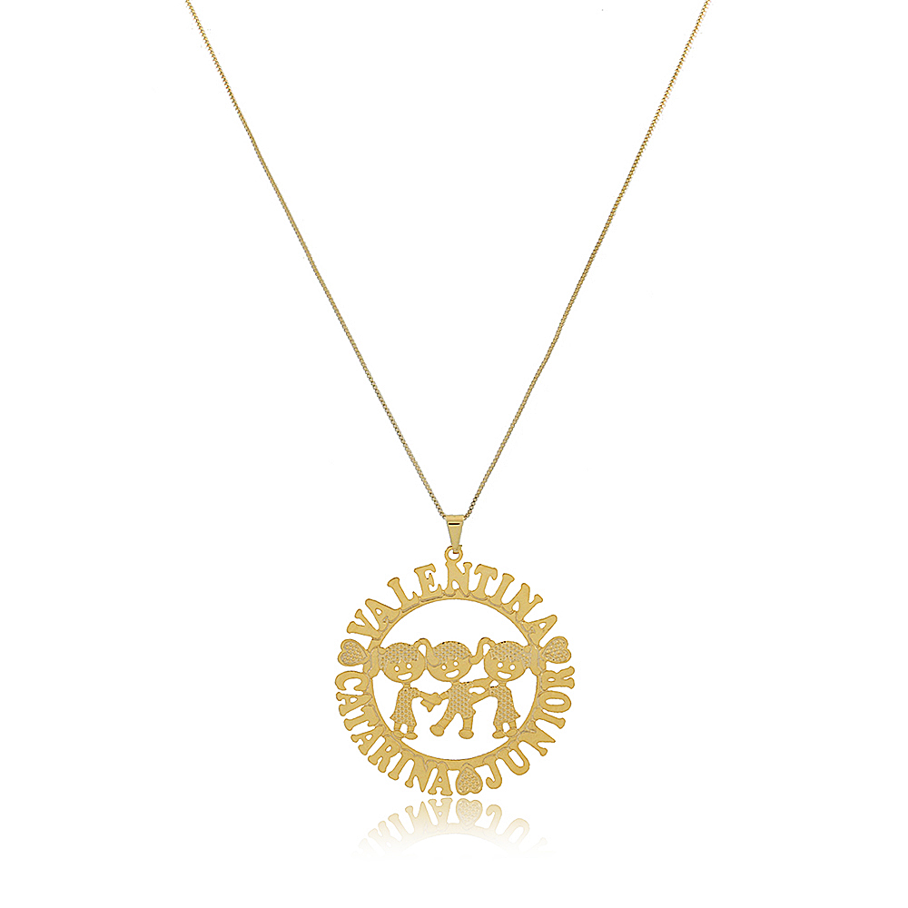 Colar Personalizado Mandala com Filhos e Nomes Folheado em Ouro 18K